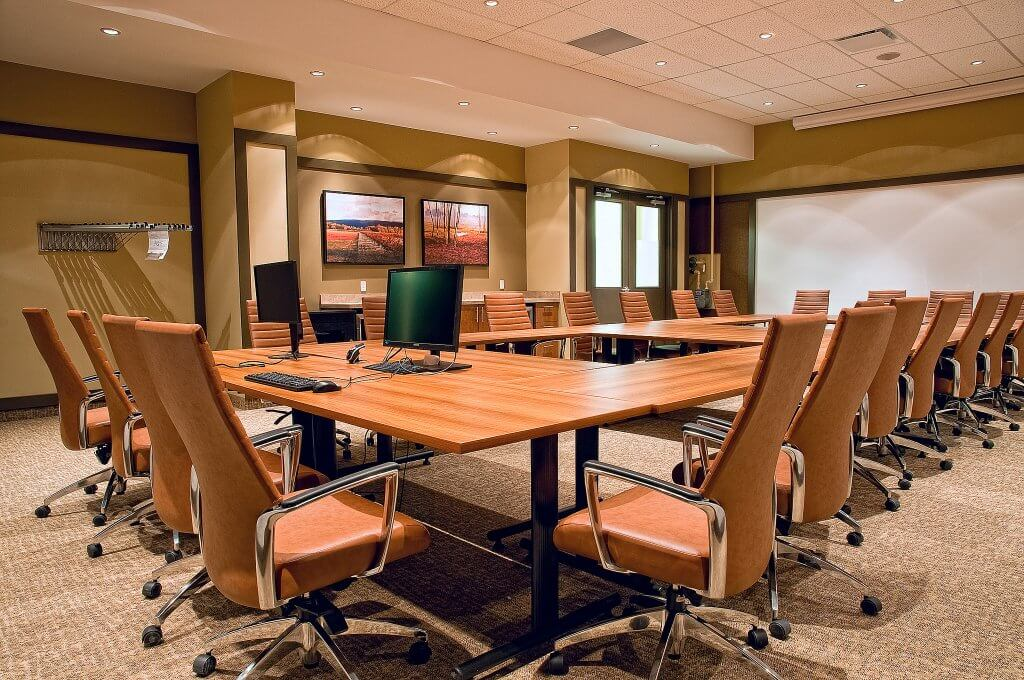 This conference room is modern, yet comfortable for its guests.